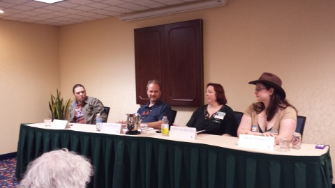 Rodney Carlstrom, James Barnes, Jennifer Brozek and Janet Harriett discuss slush reading
