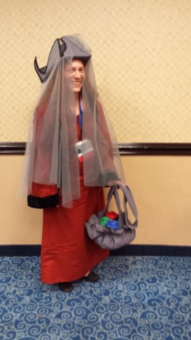 First time moderating a panel? Might as well do it while cosplaying Sabetha Belacoros.