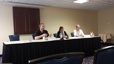 James Barnes, Betsy Mitchell and Gery Deer talking about careers in publishing